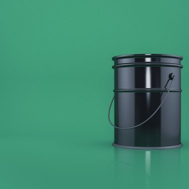 Black bucket on a green background  front view with space for text