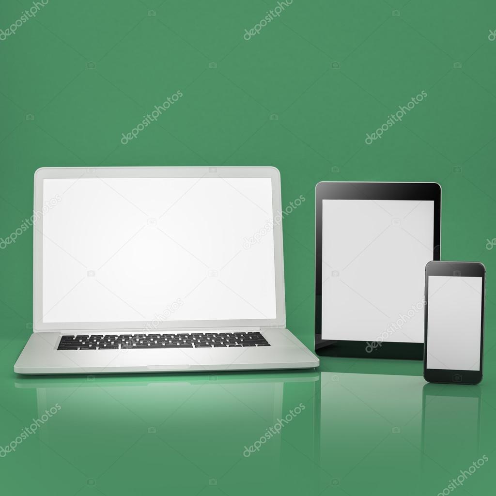 Conjunto de mofa de plantillas. Laptop, tabletas y teléfonos ...