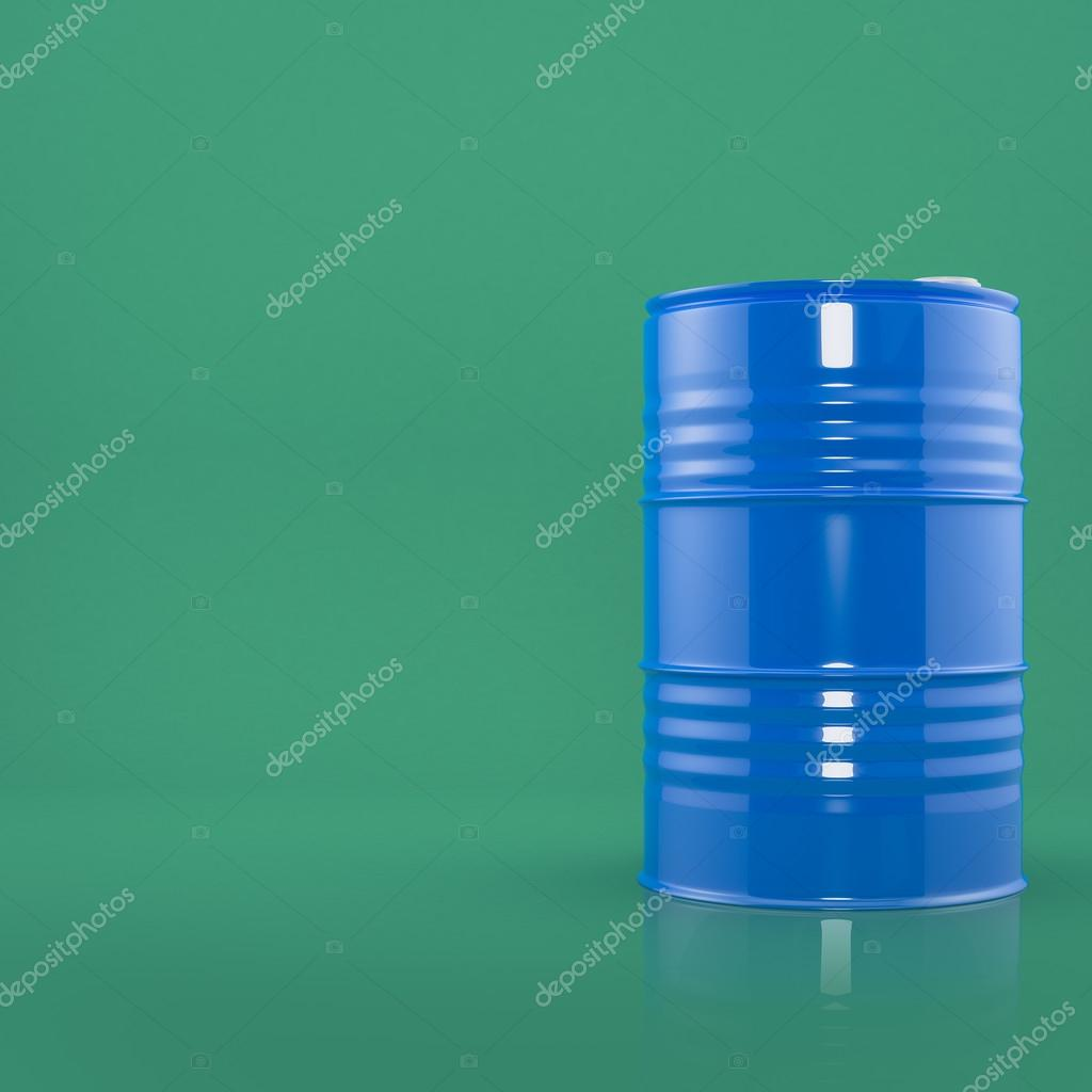 Blue metal barrel on green color background. Front view with space for text