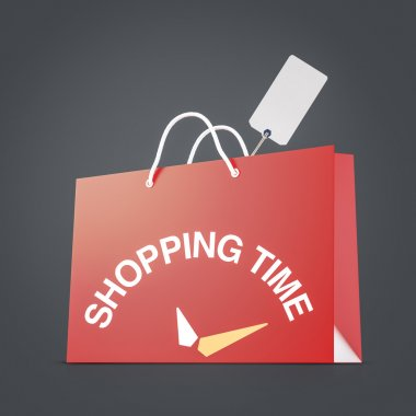 Red strong paper shopping bag with tag on dark background. Shopping time concept