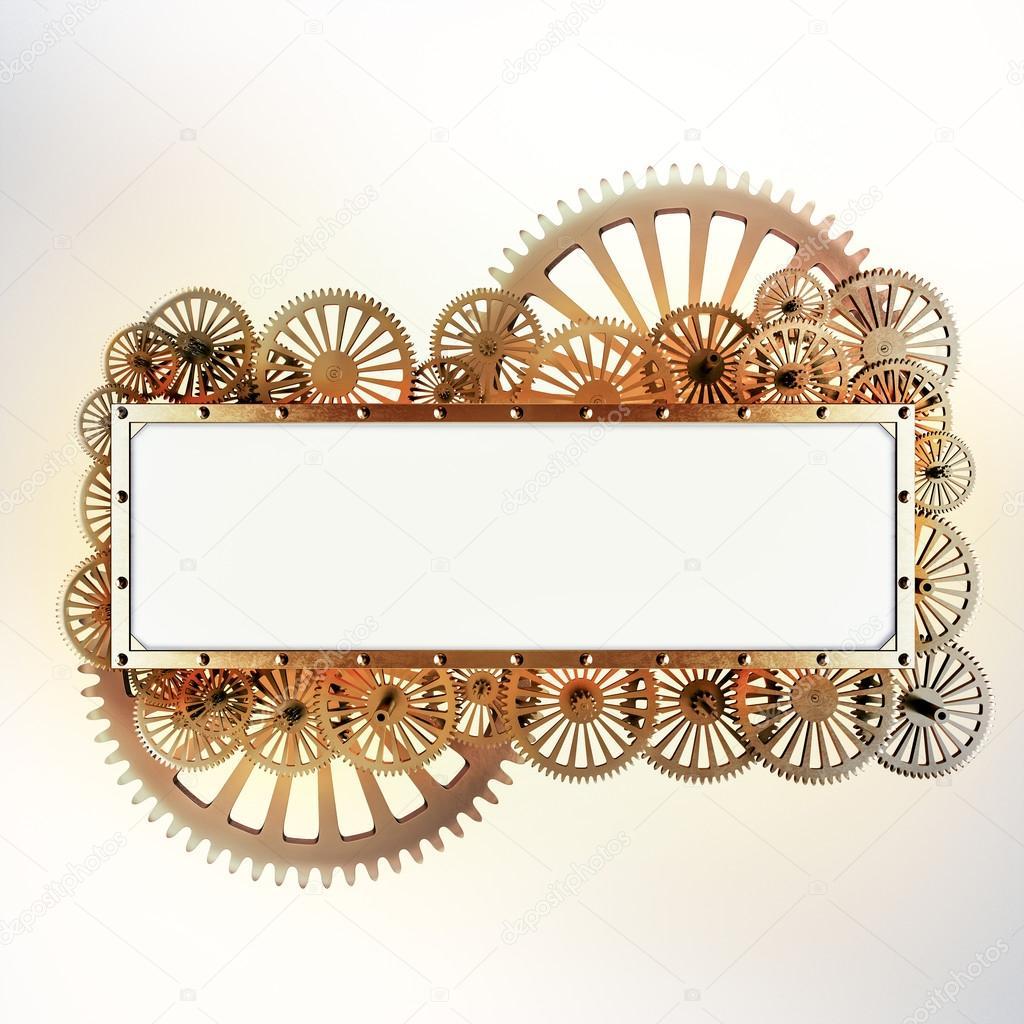 Gestileerde mechanische steampunk collage. Gemaakt van metalen frame ...
