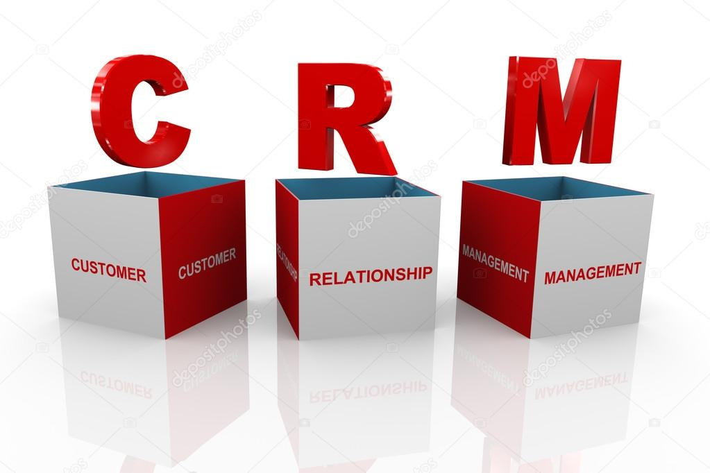 3d Box Of Crm Customer Relationship Management Stock Photo