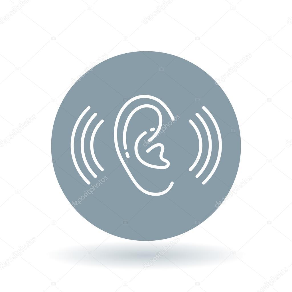 Ear Hearing Aid Icon Volume Increase Sign Ear Hear Symbol Vector