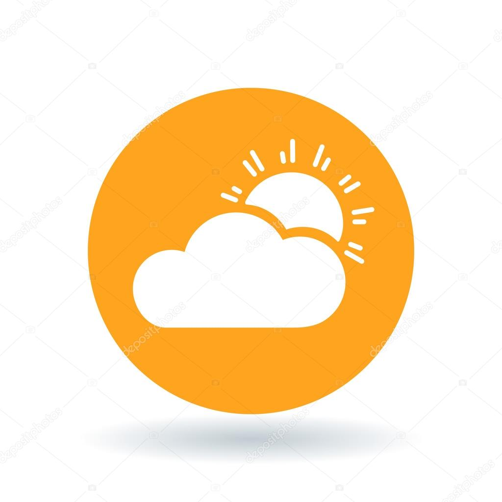 Sun And Clouds Icon Partly Cloudy Sign Sunlight And Clouds Symbol