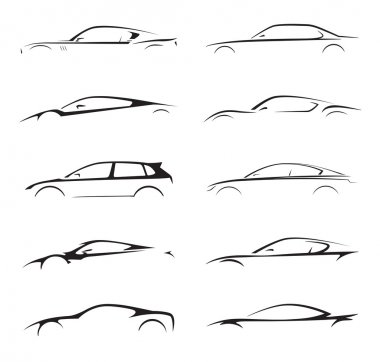 Concept supercar, sports car and sedan motor vehicle silhouette set. Vector illustration.
