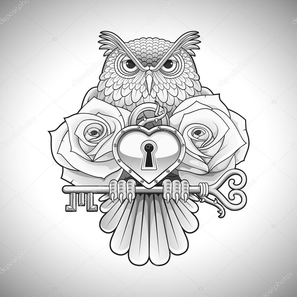 Diseño de tatuaje negro hermoso de una lechuza con una llave con un ...