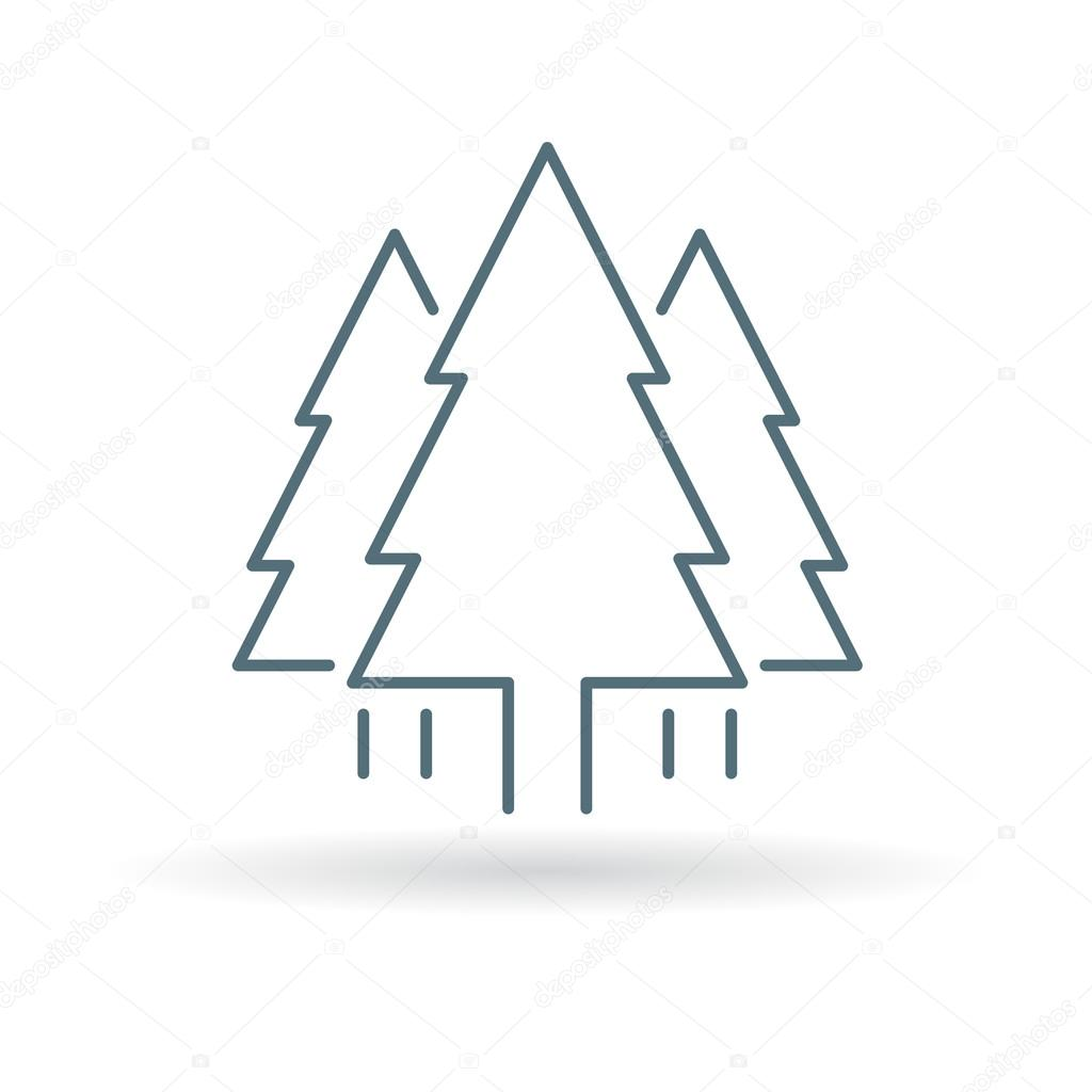 Tree Icon Pine Tree Forest Sign Christmas Tree Symbol Stock