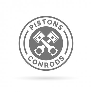 Pistons and conrods icon. Pistons rods sign. Vehicle service symbol.