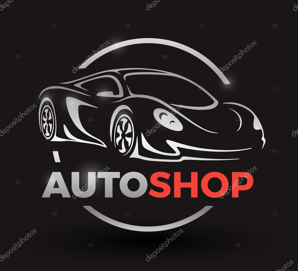 Concept design with chrome sports car vehicle auto shop ...
