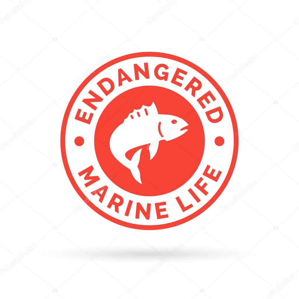 Endangered fish icon endangered marine species sign over fishing endangered fish icon endangered marine species sign over fishing symbol stock vector biocorpaavc Image collections