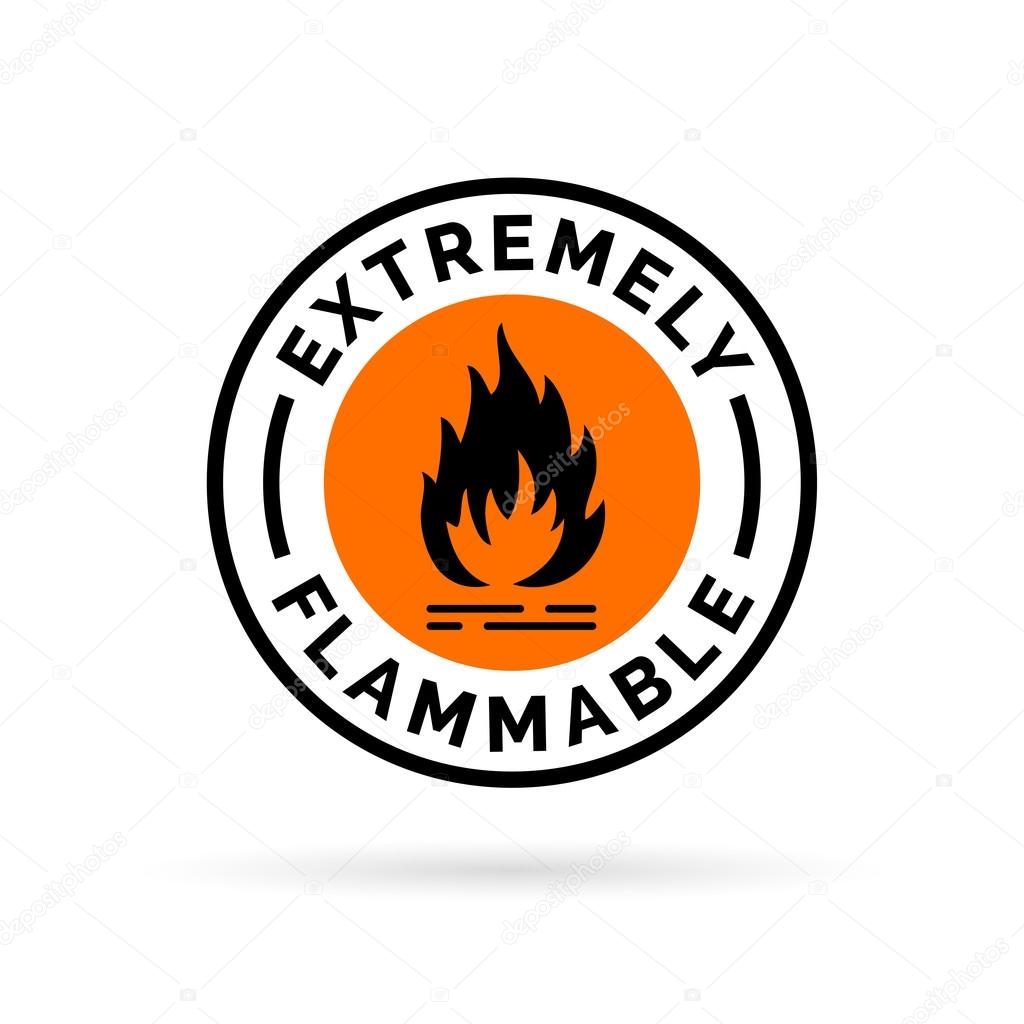 Extremely flammable icon fire hazard sign caution flame symbol fire hazard sign caution fire symbol black flame icon on orange circle background vector illustration vector by themoderncanvas biocorpaavc Gallery