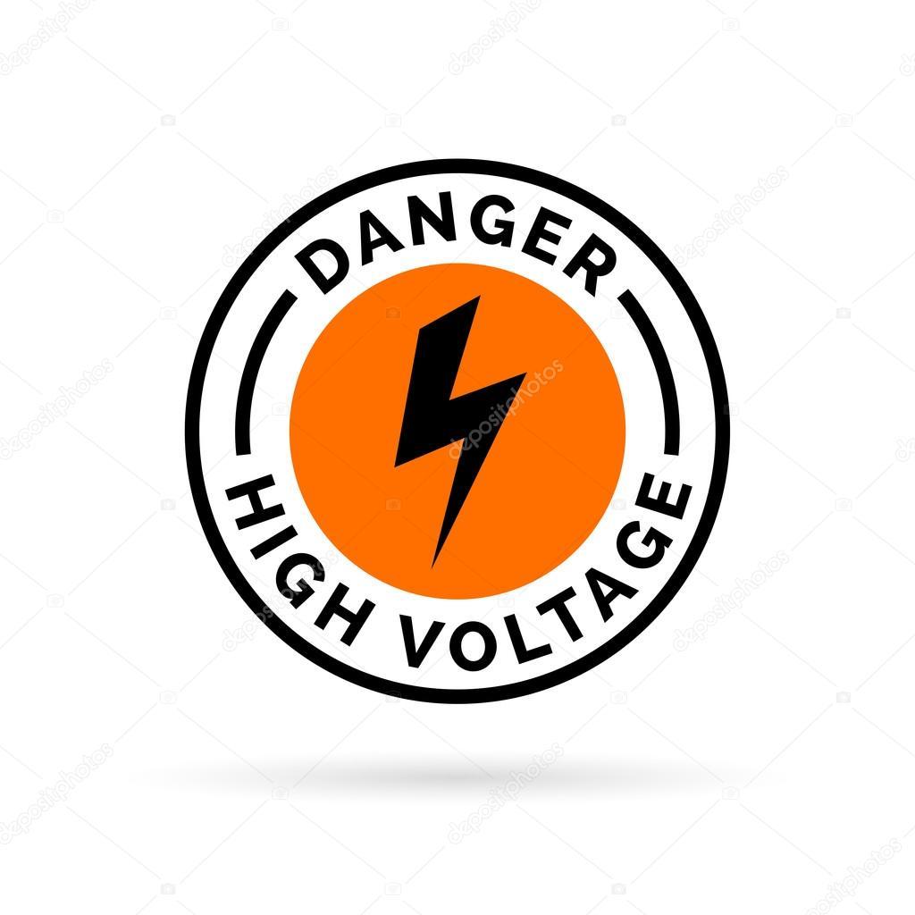 Danger high voltage sign electrical hazard icon electric shock electrical hazard icon badge caution electric shock symbol black electric bolt icon on orange circle background vector illustration buycottarizona Images