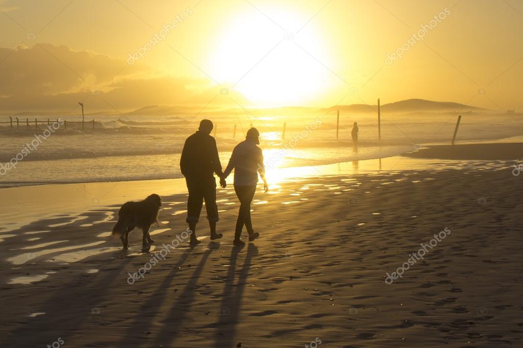 beach sunset couple walking dog silhouette western cape