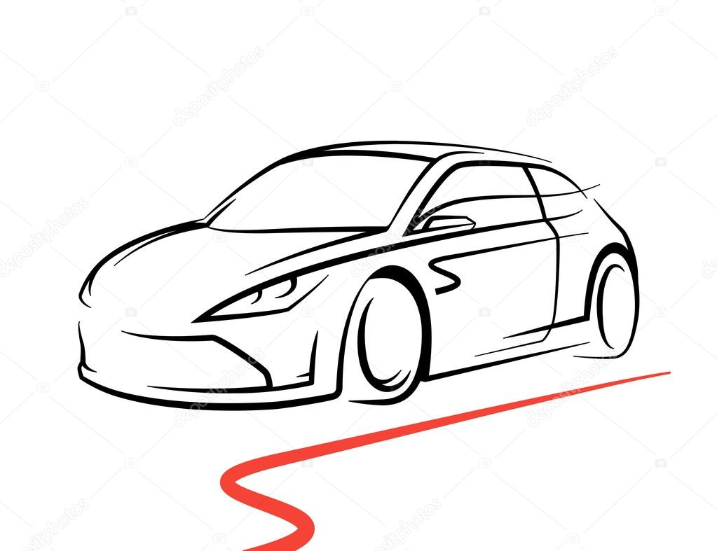 Concept Car Drawing With Supercar Sports Vehicle Line Style