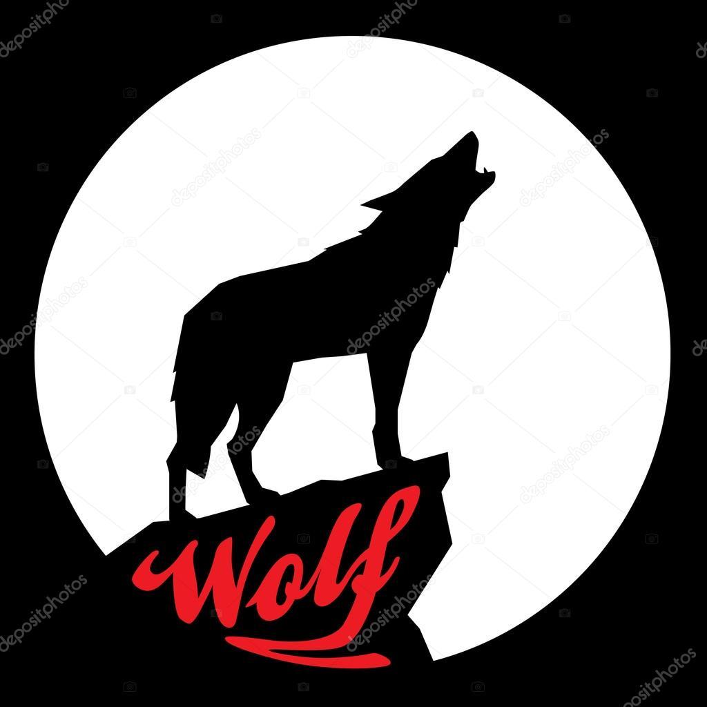 lua cheia com silhueta do lobo uivando vetores de stock