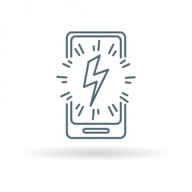 Smartphone power charge bolt icon