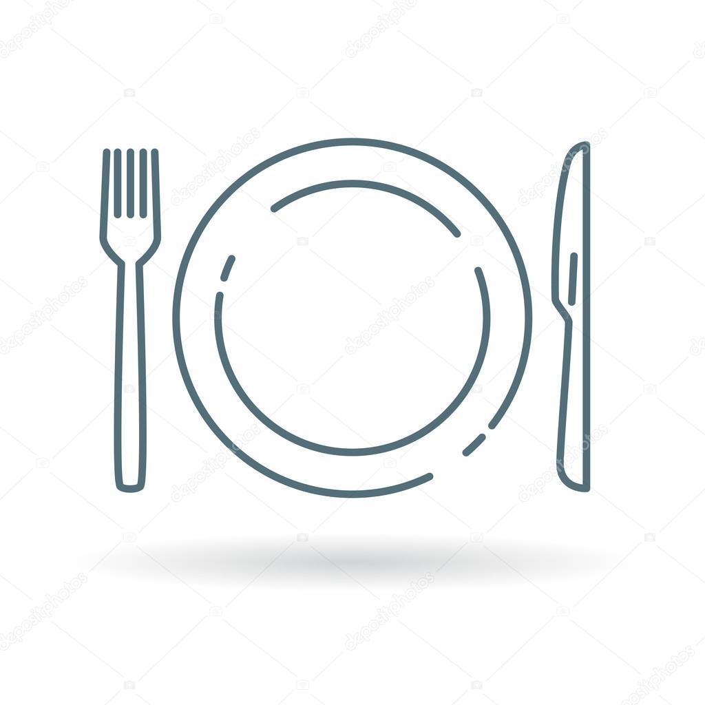 Plato cuchillo y tenedor icono vector de stock for Plato tenedor y cuchillo