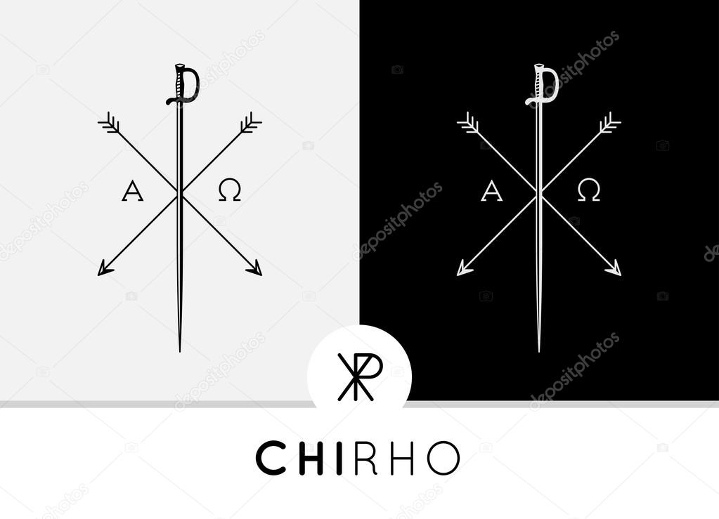 Chi Rho Symbol Design With Sword Arrows Combined With Alpha