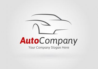 Auto Company Vehicle Logo Vector Design Concept with Sports Car Silhouette