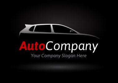 Modern auto company vehicle logo design concept with sports hatchback car silhouette