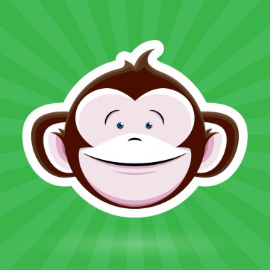 Cartoon Monkey Face with Happy Childlike Expression on Green Background