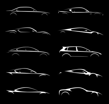 Concept supercar and regular car vehicle silhouette collection set