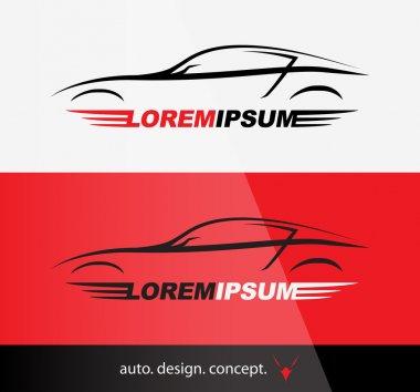 Auto Company Logo Design Concept with Sports Car Silhouette