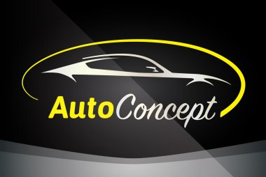 Auto Company Logo Vector Design Concept with Sports Car Silhouette