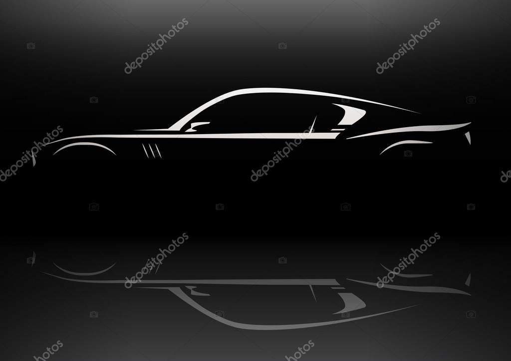 Original Concept Muscle Car Silhouette Design Stock Vector