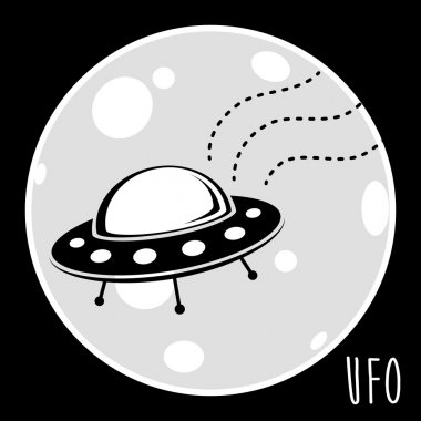 UFO (unidentified flying object). Flying saucer vector illustration