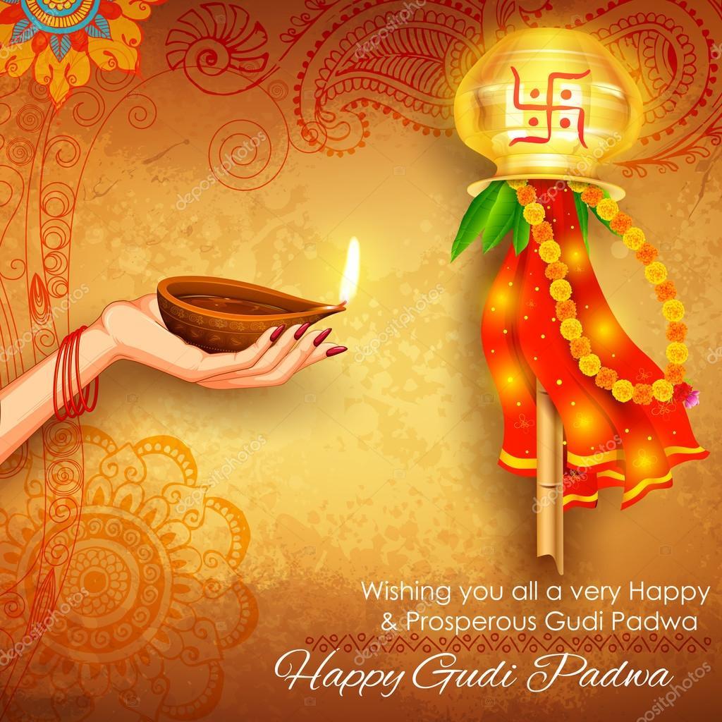Marathi gudi padwa greetings choice image greeting card examples gudi padwa celebration stock vector vectomart 108817204 illustration of gudi padwa lunar new year celebration of kristyandbryce Gallery