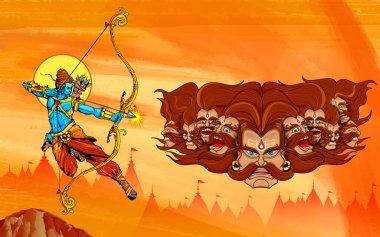 Illustration of Lord Rama with bow arrow killing Ravana stock vector