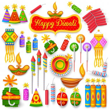 Illustration of set of colorful firecracker for Diwali holiday fun stock vector