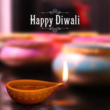 Illustration of burning diya on Diwali Holiday background stock vector