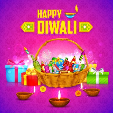 Illustration of Happy Diwali Background with firecracker and diya stock vector