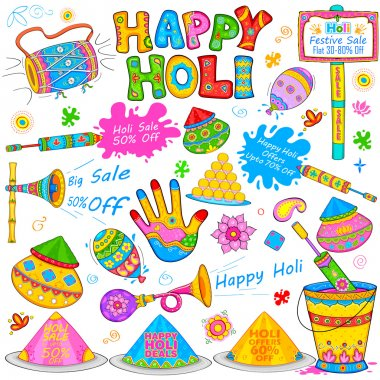 Illustration of set of Holi element in Indian kitsch style stock vector