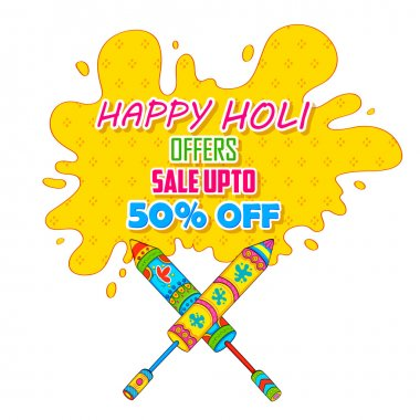 Illustration of colorful splash coming out from pichkari in Holi promotional background stock vector