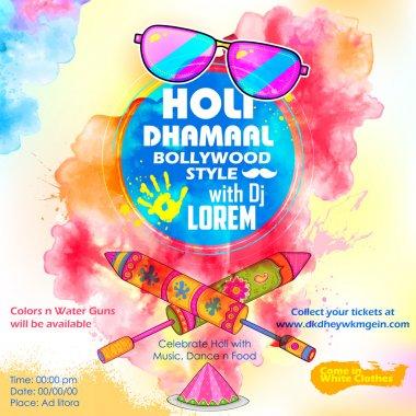 Illustration of DJ party banner for Holi celebration stock vector