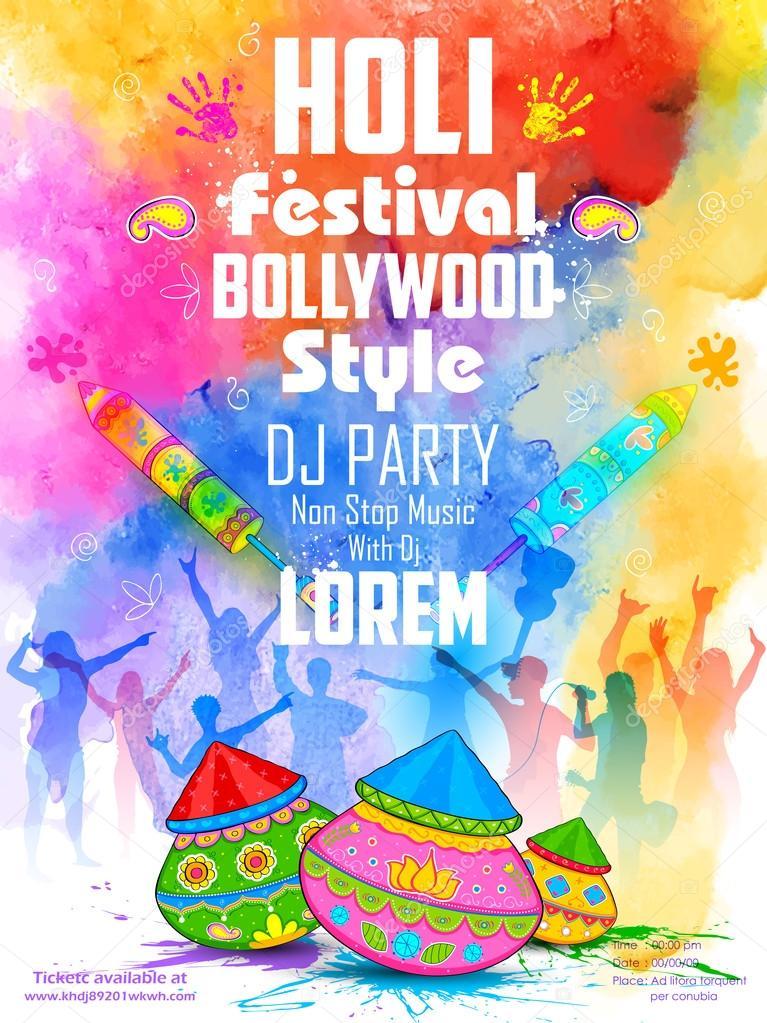 DJ party banner for Holi celebration
