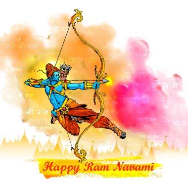 Illustration of Lord Rama with bow arrow killing Ravana in Ram Navami stock vector