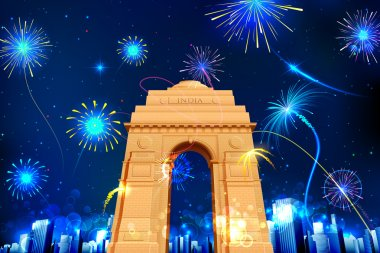 Illustration of firework display in India Gate for celebration stock vector