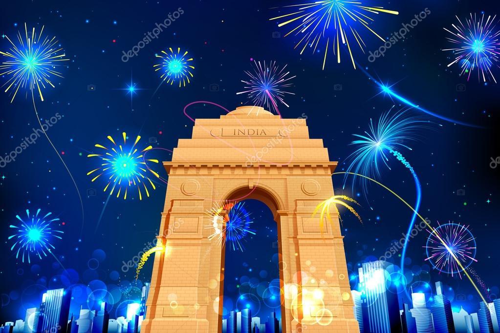 Illustration of firework display in India Gate for celebration stock vector
