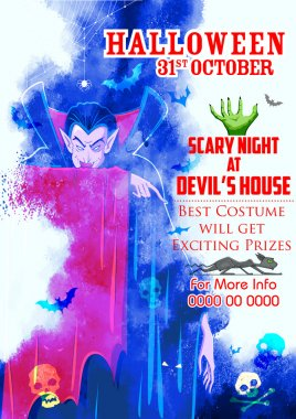scary Dracula in Halloween night