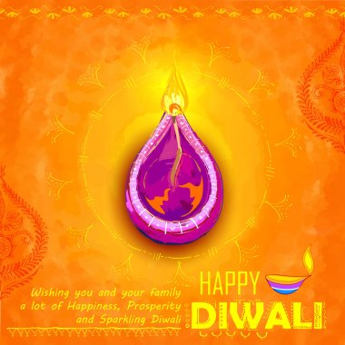 Illustration of Happy Diwali background colorful watercolor diya stock vector