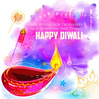 Illustration of Happy Diwali background with colorful watercolor diya stock vector