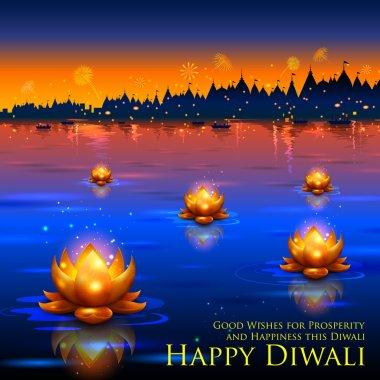 Illustration of golden lotus shaped diya floating on river in Diwali background stock vector