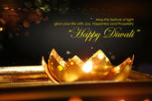Fotografie Golden lotus shaped diya on abstract Diwali background