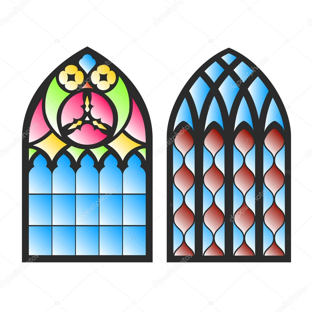 Gothic windows vintage frames church stained glass for Window design clipart