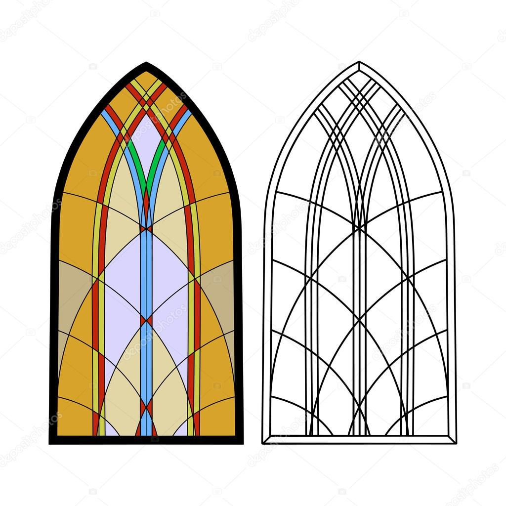 On The Image Is Presented Gothic Windows Vintage Frames Church Stained Glass Vector By Matc