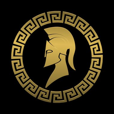 Golden symbol Spartan warrior on a black background